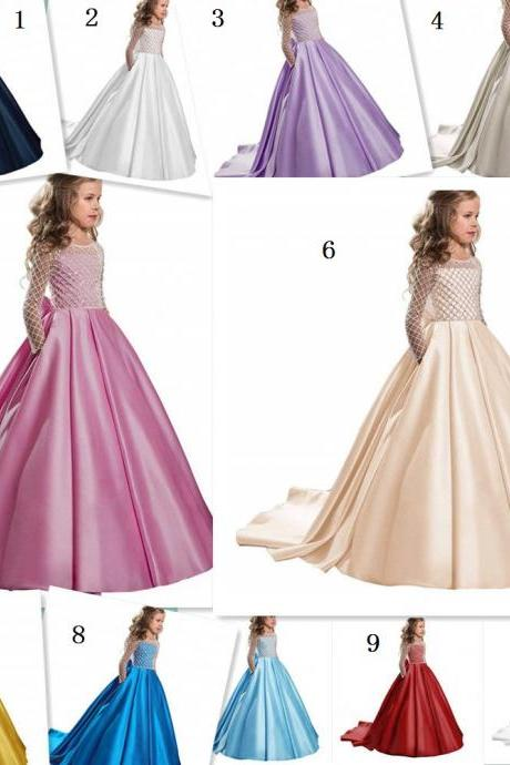 Flower Girl Dress Girl Clothing Princess Brithday Applique Ball Gown Kid Dresses 47