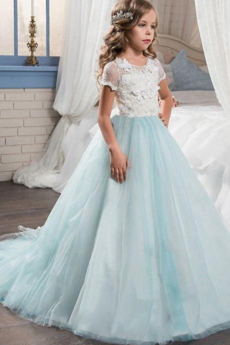 Light Blue Tulle Flower Girl Dress Formal Lace Trailing Princess Party Holiday Wedding Bridesmaid 51
