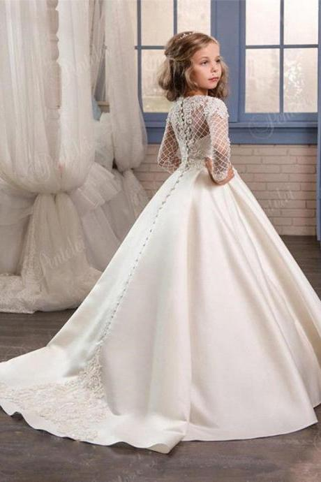 Long Sleeve lace Ball Gown Flower Girl Dress Pageant Party Dress For Wedding 52