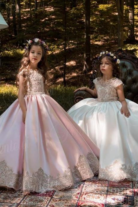 Vintage Pink Princess Flower Girl Dresses With Gold Lace Appliqued Wedding Party Tutu Kids Birthday Dresses 74