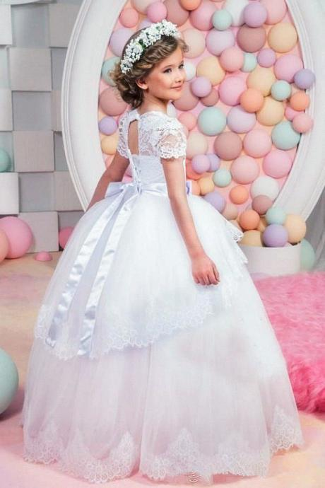 Short Sleeve Lace Ball Gown Flower Girl Dress Communion Pageant Easter Graduation Bridesmaid Wedding Dress 89