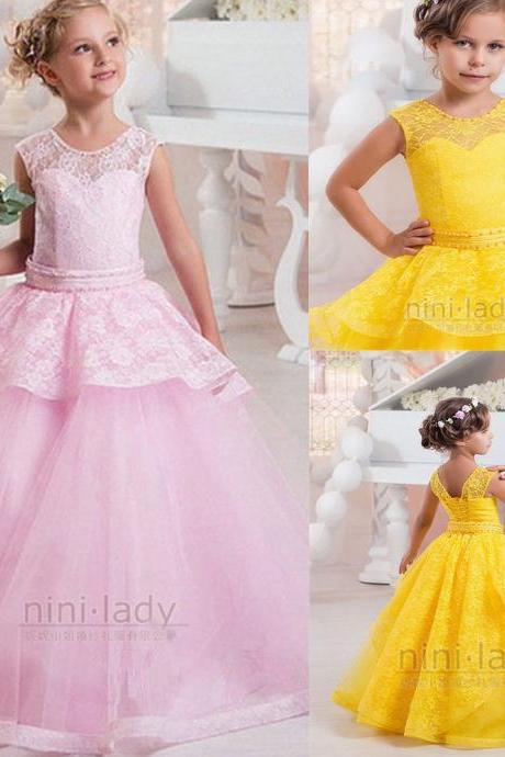 New Flower Girl Dress Communion Party Prom Ball Pageant Bridesmaid Princess Gown 92