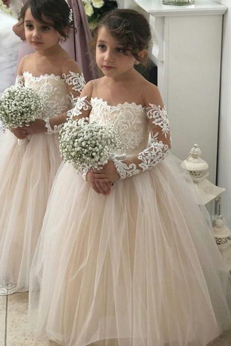 A-Line Round Neck Long Sleeves Pearl Pink Flower Girl Dress with Lace 100