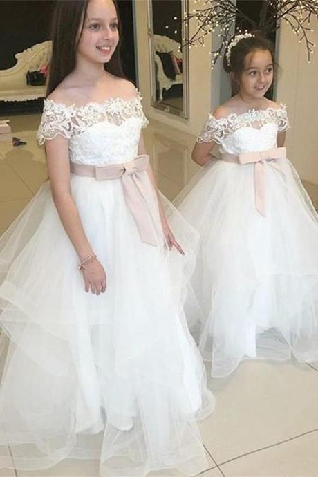 A-Line Off-the-Shoulder Floor-Length Flower Girl Dress with Lace 101