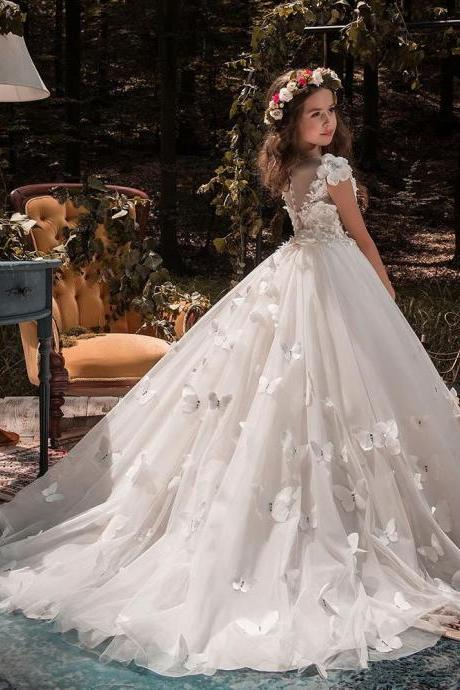 New Butterfly Ball Gown Kids Flower Girl Dresses Kids Birthday Weddings Holy Communion Gowns 106