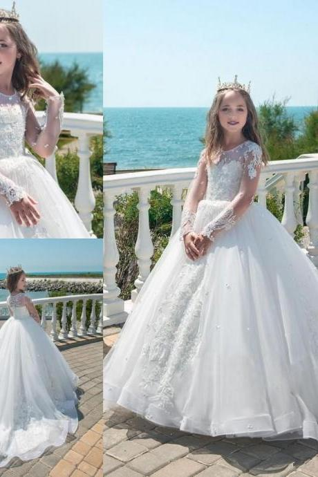 Holy White Princess Ball Gown Flower Girl Dresses Sheer Long Sleeves Appliques Beaded Luxury Girls Formal Wear Gowns Summer Party Dress 107