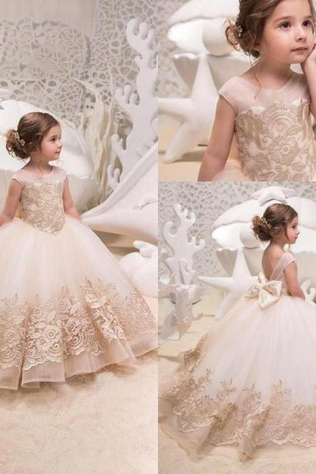 Golden Lace Ball Gown Kids Flower Girl Dresses Kids Birthday Weddings Holy Communion Gowns 109