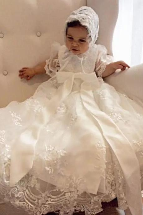 with hat Lovely Baby Girl Baptism Gown Christening Dress Lace beaded 0-24month Baby Boy Robe With Bonnet 136
