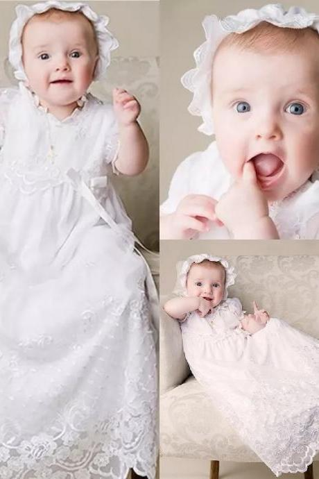 with hat Cute Ivory White First Communion Dresses Puff Sleeve Custom Made Lace Applique Beads Belt Jewel Neck Hat A Line Pageant Gowns 138