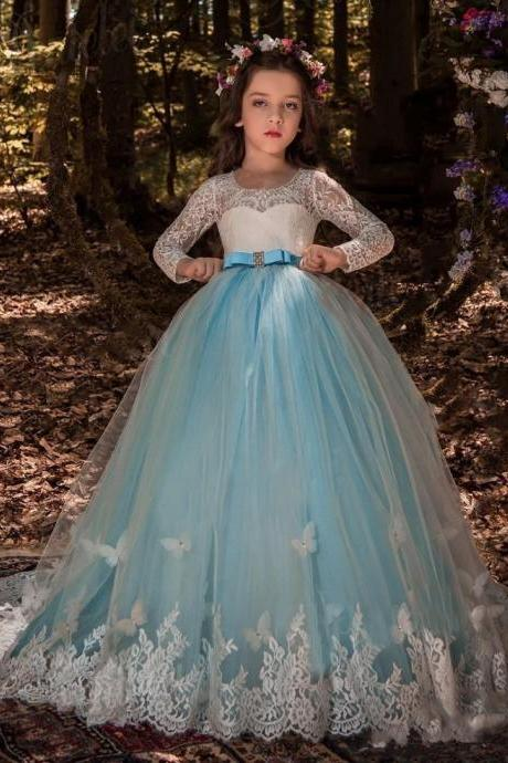 2018 Girls Pageant Dresses Butterfly Lace Long Sleeves Tulle Sash Crystal Light Blue Hollow Back Kids Flower Girls Dress Birthday Gowns 174