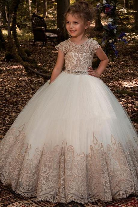 Champagne Lace Applique Ball Gown Flower Girls Dresses For Weddings Crew Kids Princess Gown Party Birthday Dress Children Girl Pageant Gowns 179