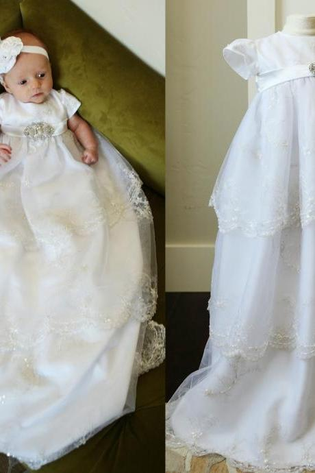 with HeadFlower First Communion Dresses Sequins Lace Applique Edge Full Length Half Sleeves Baptism Outfits Formal Infant Girl Wear With Bonnet 186