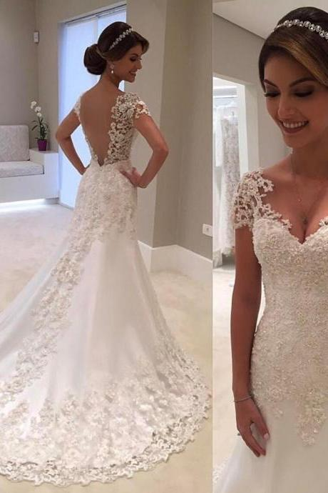 White Backless Lace Mermaid Wedding Dresses 2018 V-Neck Short Sleeve Wedding Gown Bride Dress Robe De Mariage 04