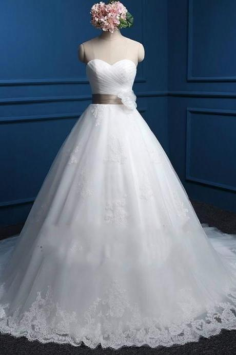 Sweetheart Lace Ball Gown with Flower Sash Tulle Lace Wedding Dress Lace Up Back Real Photos 11