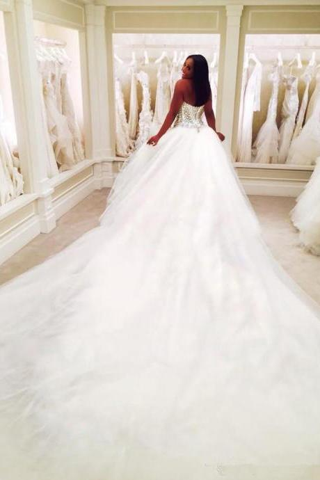 Elegant 2019 Dubai Nigerian Lace 3 METERS Wedding Dresses Custom Made Plus Size Open back Tulle Puffy Bridal Gowns Arabic Wedding Dress 16