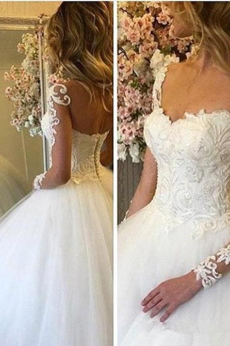 Luxury Wedding Dresses Long Sleeve Tulle Lace Applique Illusion Bateau Bridal Gown Engagement Formal Wedding Guest Dress 44