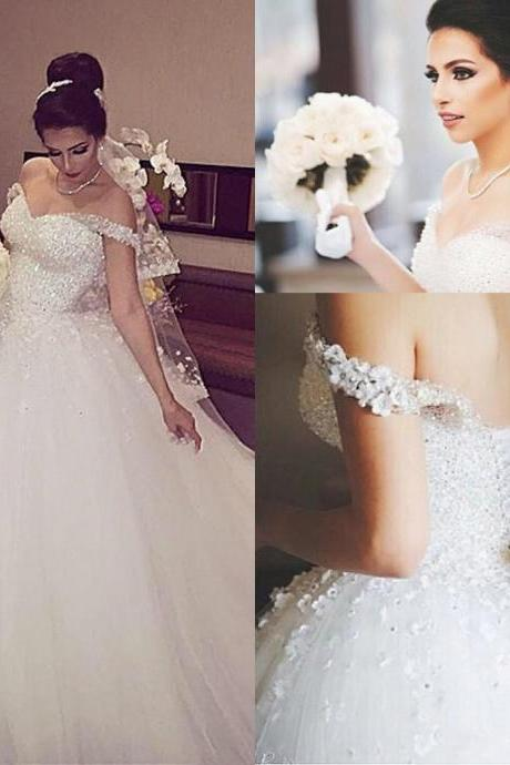 Gorgeous Crystals Sparkly Tulle White Ball Gown Wedding Dresses Formal Off Shoulder Sequins Beading Lace-up Back Church Bridal Gowns 47