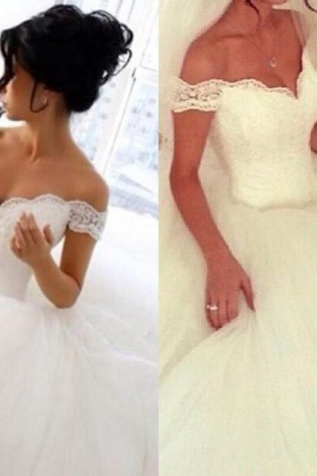 Pageant Lace Ball Gown Wedding Dresses Off the Shoulder Short Sleeves Custom Scoop Appliqued Dubai Bridal Gowns Floor Length 50