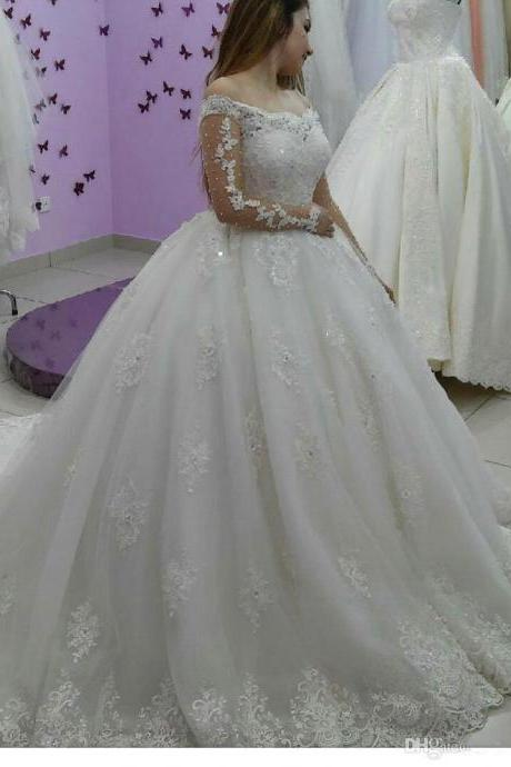 Elegant Strapless High Quality Lace Wedding Dresses Pearls Custom Make Arabic Dubai Style Off Shoulder Sheer Bridal Gowns with Beads 57