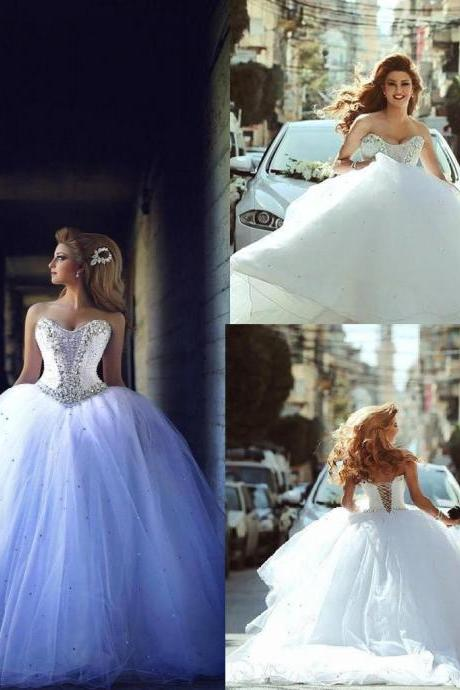 Elegant Custom Made Plus Size Sweetheart Bride Ball Gown Wedding Dresses Beading Long Vestidos Bridal Party Gowns 75