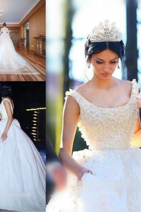 Elegant White Pearls Fluffy Ball Gown Wedding Dresses With Bow Backless Custom Made Formal Tulle Lace Bridal Party Dress Court Train 77