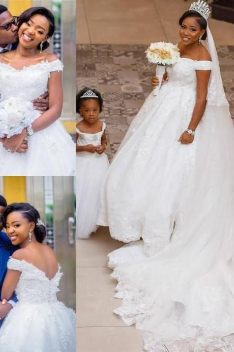 Pageant South African Pure White Lace Ball Gown Wedding Dresses Appliques Off Shoulder Bridal Gowns Backless with Buttons Plus Size 87