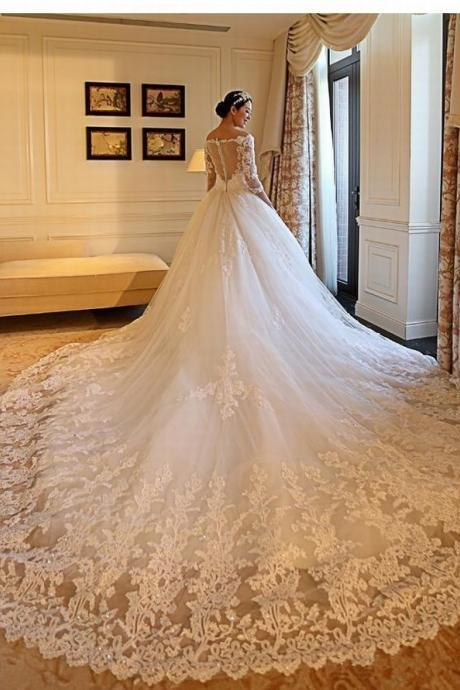 Luxury Lace Ball Gown Wedding Dresses Illusion Back Tiered Beads Long Sleeve Sequin Formal V Neck Applique Bridal Gowns Custom Made 110