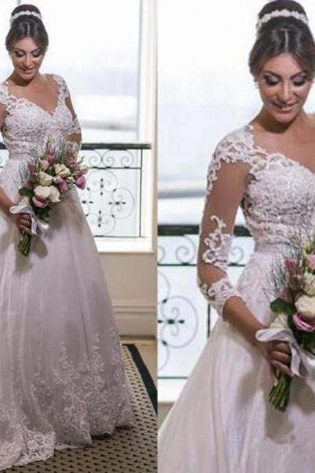 New Arrival A-line Wedding Dresses Long Sleeves Lace Appliques V Neck Custom Made Beaded Sheer Bridal Party Gowns 130