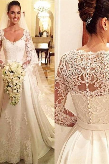 Lace Robe De Marriage Scoop Sheer Long Sleeves Lace Appliques A Line Bridal Wedding Gowns Sexy V Buttons Wedding Dress 142