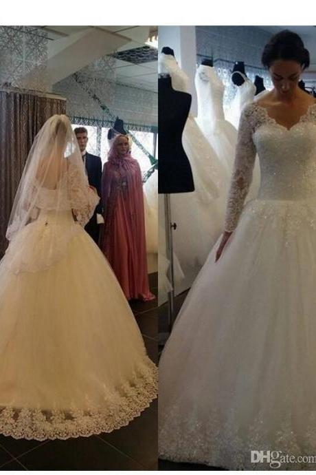 Elegant V-neck Sheer Long Sleeves Wedding Dresses Lace Appliques Beaded Backless Vintage Bridal Gowns with Corset Back 144