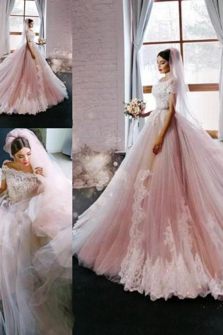 Blush Elegant Princess A-Line Wedding Dresses Off Shoulders Cap Sleeves Lace Appliques Luxury Bridal Party Gowns 153
