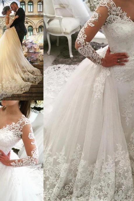 Elegant Saudi Arabic Over Skirt Wedding Dresses V-neck Lace Appliques Backless Long Sleeves Elegant Bridal Gowns with Removable Skirt 155