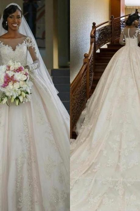 Garden New Long Sleeves A-line Wedding Dresses Sheer Long Sleeves Lace Appliques Button Back Elegant Bridal Gowns with Chapel Train 161