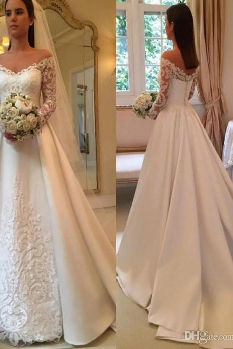 Vintage A-Line Wedding Dresses Lace Appliques Long Sleeves Off Shoulder Sheer Backless Chapel Train Church Formal Bridal Gowns 163
