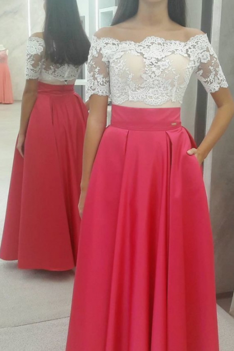 Custom Made Elegant Off Shoulder Red Long Prom Dress White Lace Top