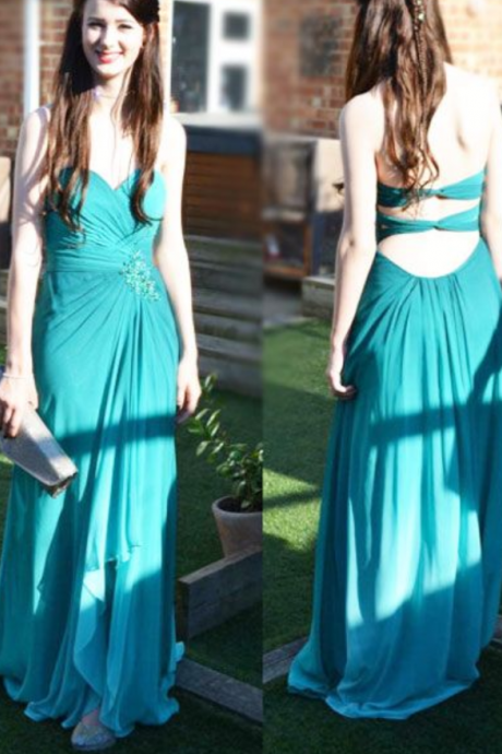 Custom Made Party Dresses Pleated Chiffon Prom Dresses Long Beautiful Back Prom Party Gown Formal Dresses