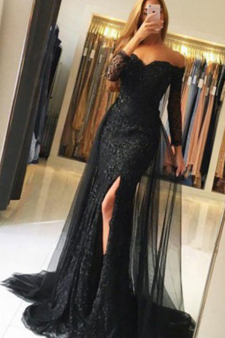 Custom Made Black Lace Mermaid Sweetheart Long Sleeve Prom Dresses with Sweep Train, Tulle Prom Dress, Long Evening Dress with Appliques,Prom Dresses