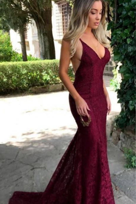 On Sale Custom Made New Glamorous V Neck Mermaid Evening Dress Long Sleeveless Backless Full Lace Prom Dresses Party Gowns