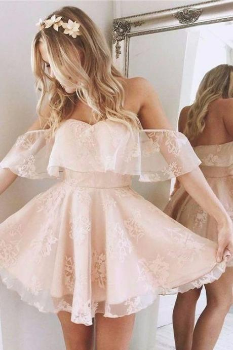 2019 Pearl Pink Homecoming Dress A-Line Homecoming Dress,Lace Off-Shoulder Short Prom Dresses