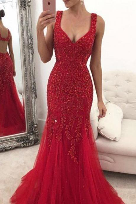 Red Custom Made Prom Dress Long,Dance Dresses, Graduation School Party Gown,Evening Gown