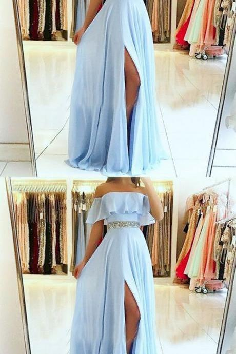 Custom Made A-Line Off the Shoulder Split Front Blue Chiffon Prom Dress with Beading Belt Evening Dress