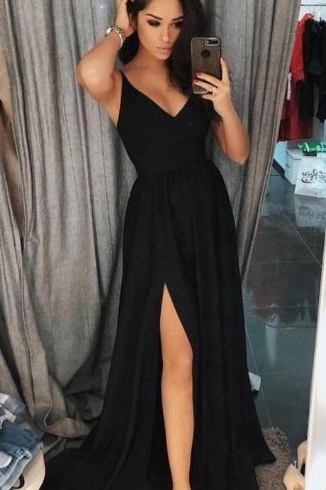 Unique A Line Chiffon Party Dresses,Simple Spaghetti Straps Evening Gowns, Simple Prom Dress,Cheap Prom Dress,modest Black Long Prom Dresses With Slit