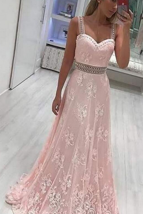 Custom Made A-Line Scoop Sweep Train Prom Dress Pink Lace Prom Dress with Beading Appliques Sleeveless Evening Dress