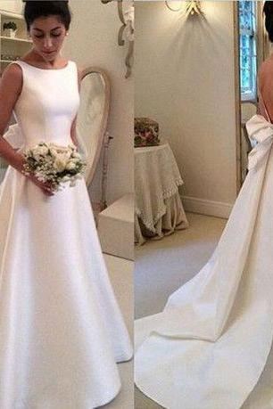 Satin Bateau Neck Sleeveless Floor Length A-Line Wedding Dress Featuring Bow Accent Open Back and Train Bridal Gowns