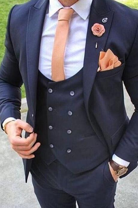 3 Piece Custom Made Navy Blue Men Suit Formal Wedding Blazer Prom Gentle Groom Men Suits(jacket+pant+vest)