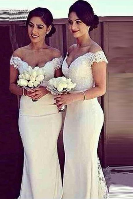 V-neck Prom Dress,Mermaid Ivory Evening Dresses,Floor Length Custom Made Bridesmaid Dresses
