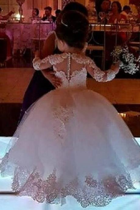 2019 Long Sleeve White Ball Gown Princess Flower Girls Dresses Appliques with Beaded Stunning Cute Girls First Communion Dress