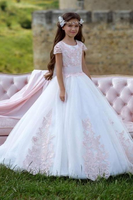 Cute Pink Lace Appliques Short Sleeves First Communion Dresses Kids Ball Gown Pageant Dresses Flower Girl Dresses