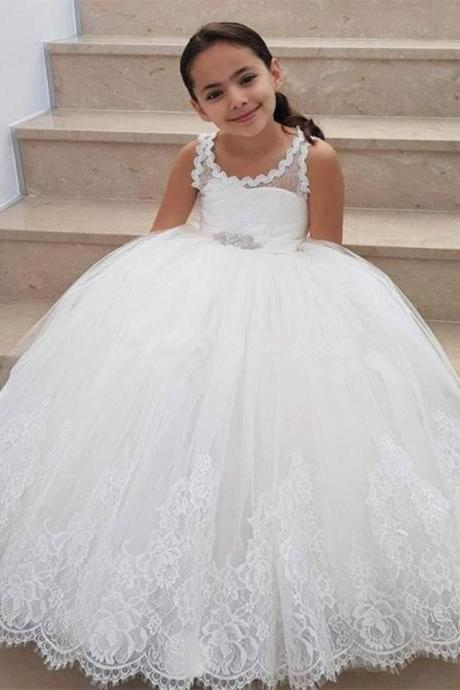 Flower Girls Dress For Weddings Lace Appliques Tulle Floor Length Backless First Communion Dresses