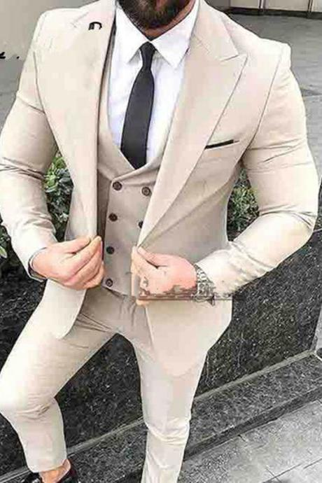 Custom made Wedding Tuxedos Beige Mens Suits For Wedding Slim Fit Groomsman Suit (jacket+pant+vest)